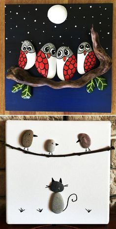 MENTŐÖTLET - kreáció, újrahasznosítás: Egyszerű kavicsképek gyerekszobába Diy Wall Art, Pebble Art, Painted Rocks, Snowman, Mandala, Disney Characters, Pattern, Handmade, Painting