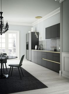 Black, Grey & Gold Colors in a Sleek, Modern Kitchen | #minimalist #kitchen #design