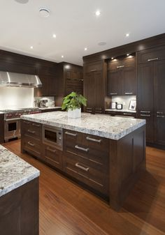 Houzz - Kitchen - contemporary - kitchen - vancouver - Old World Kitchens & Custom Cabinets Old World Kitchens, Home Kitchens, Kitchen Open Concept, Custom Kitchen Cabinets, Dark Cabinets, Wood Cabinets, Shaker Cabinets, Kitchen Ideas With Dark Brown Cabinets, Inset Cabinets