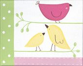 Penelope Brown and Pink Bird Set  - 2 8x10 Paintings on Canvas. $55.00, via Etsy.