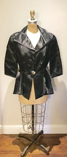 Black Silk Satin Thierry Mugler Paris Jacket with Silver Deco Button by newgenerationvintage on Etsy