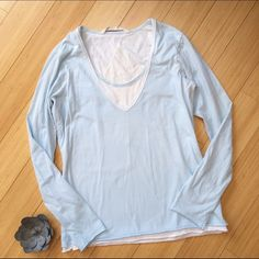 ATHLETA shirt, SEE BACK! Knit, light blue shirt by Athleta. Great design on back. Pre- loved but in great shape. Super soft. Your new go-to weekend top! Athleta Tops Tees - Long Sleeve