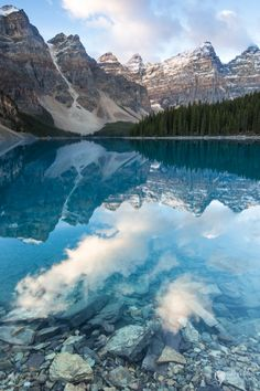 Photographing reflections at Moraine Lake in Banff National Park.