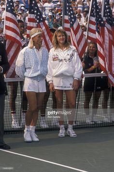 Athletes Martina Navratilova and Steffi Graf attends U.S. Tennis Open on September 9, 1989 at Flushing Meadows Park in New York City.