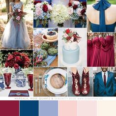 Marsala Rose Quartz Serenity Blue Wedding Color Palette Winter Fall Spring Summer Sophisticated Modern Unique Dusty Navy Wine Burgundy Blush Pantone