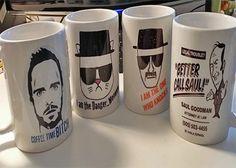 Set of 4 Breaking Bad Coffee Mugs (Saul Jesse Heisenberg Cat Heisenberg Knocks) @ niftywarehouse.com #NiftyWarehouse #BreakingBad #AMC #Show #TV #Shows #Gifts #Merchandise #WalterWhite
