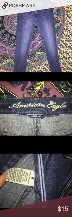 American Eagle Jeans These are a size 8 American Eagle Jeans. Got them a few years ago, but they are in perfect condition.  Have been used. American Eagle Outfitters Jeans Straight Leg