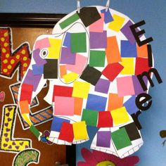 After reading the story Elmer, each kinder glued a color square on our class elephant! Great retell activity!