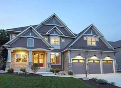 Attached garage on pinterest large family rooms storage House plans with 4 car attached garage