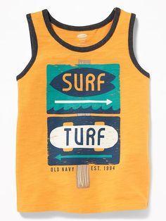 Old Navy Toddler Boys' Graphic Slub-Knit Tank Surf Turf Regular Size M Toddler Girl Gifts, Toddler Outfits, Baby Boy Outfits, Toddler Boys, Kids Boys, Kids Outfits, Surf Boy, Baby Boy T Shirt, Kids Clothes Boys
