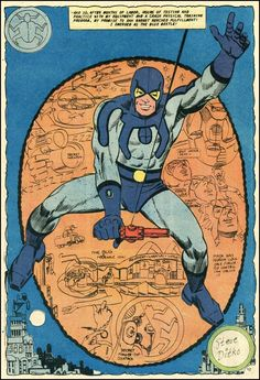 Great splash page from Blue Beetle Charlton Comics Showing off the modern age Blue Beetle Ted Kord. Steve Ditko at his finest! Comic Book Artists, Comic Artist, Comic Books Art, Charlton Comics, Blue Beetle, Steve Ditko, Splash Page, Dc Comics Characters, Classic Comics