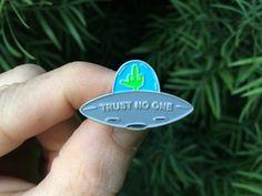 Trust No One : UFO  Soft Enamel Lapel Pin by monstersoutside