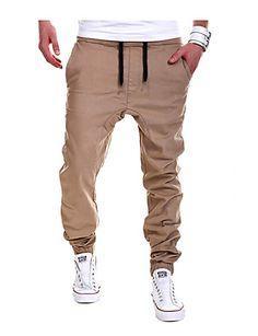 Men's Casual Solid Pants Jogging Sweatpants Joggers Pants, Cotton/Polyester  #05093526