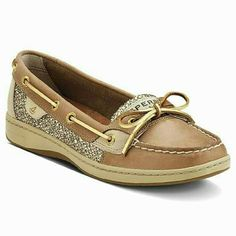 FLASH☆SALE L☆☆Sperry Angelfish shoes Great pair of Sperry Angelfish shoes in excellent condition with lots of wear still left in them.  Metallic gold detailing adds a perfect touch of bling without being overpowering. No major signs of wear. Interior is slightly darker from use. Sperry Top-Sider Shoes Flats & Loafers