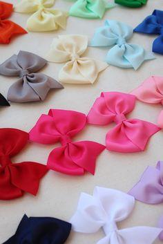 Girls hair bows - set of 12 - toddler hair bows -  Birthday gift - 1.00 hair bows -little girls hair bows - You can choose colors. $12.00, via Etsy.