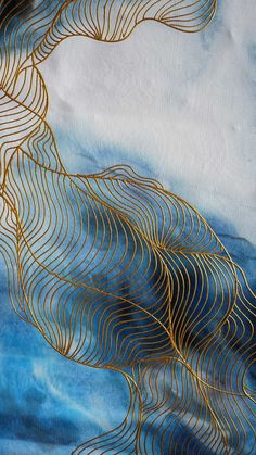 Textured Pattern Contour Line With Effect Pattern Design Handmade Gold Line Art Large Acrylic Abstract Painting . Geometric Patterns, Textures Patterns, Contour Line, Alcohol Ink Art, Gold Line, Art Abstrait, Line Drawing, Line Art, Watercolor Art