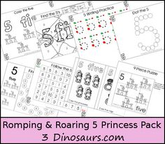 FREE Romping & Roaring Number 5 Princess Pack - coloring pages, playdough mats, counting, tracing and more 39 pages great for ages 3 to 6 or 7 - 3Dinosaurs.com