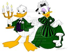 donald and daisy dressed in haunted mansion style