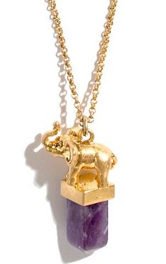 Elephant Amethyst Necklace- OMG i NEED this!  My Grandma Collected Elephants AND her birth stone was amethyst!  She wore two amethyst necklaces every single day and she would have LOVED this!