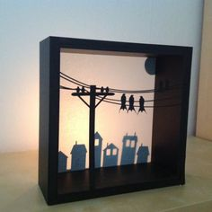 maybe an easy DIY shadow box?....too cute, looks like the sun is going down(or coming up) would make a cute night light for a child!
