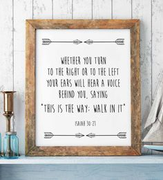 """Bible Verse Print, Isaiah 30-21, """"This is the way, walk in it."""" Scripture Art Print, Christian Prints, Christian Wall Decor, Christian Gift"""