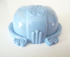 Blue Carved Celluloid Ring Box Vintage Plastic by TreasuresOfGrace