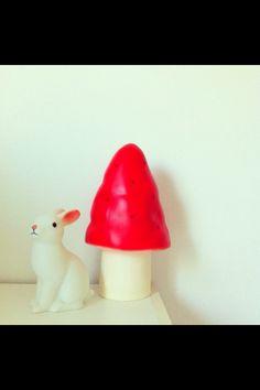Heico | Egmont Toys small mushroom lamp and Woodland Rabbit LED nightlight in my bedroom.
