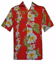 c6ade318a This Men's Hawaiian Shirts includes hibiscus flower Print which comes in  red color. Its made