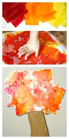 Create beautiful art with bleeding tissue paper. Then put together this simple fall tree craft.