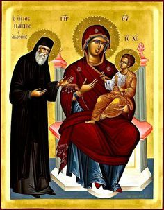 """""""I know, evil, like an uncontrollable fire, threatens you and your children. But hug our Lady Virgin and don't be afraid! She has the power… Byzantine Icons, Byzantine Art, Religious Icons, Religious Art, Religious Paintings, Best Icons, Orthodox Christianity, Madonna And Child, Orthodox Icons"""