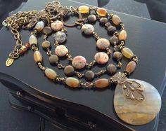 Multi Strand Gemstone Pendant Necklace, Agate Beaded Necklace, Earthtone Gemstone Jewelry, Agate Necklace, Handmade Artisan Jewelry