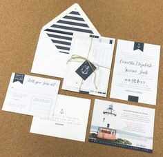 Wedding Invite. Nautical. Lighthouse. Navy. White. Stripes. Anchor.