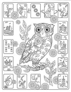 Creative Haven Owls Colouring Book by Marjorie Sarnat ~ Mah Jong Owls