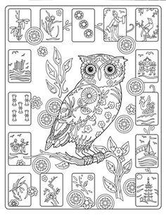 Creative Haven Owls Colouring Book by Marjorie Sarnat ~ Mah Jong Owls