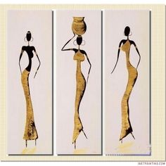 african paintings   African Aboriginal Beauty Abstract Painting Canvas Sets Modern Wall ...