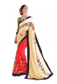 Wedding Embroidery Beige Red Georgette Designer Saree By Anbazaar