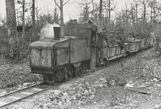 German narrow gauge steam locomotive making a troop run directly behind the Western Front in the spring of 1917.
