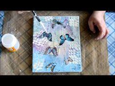 Mixed media canvas - Butterflies