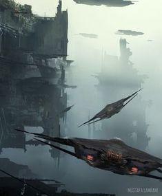 Spaceship Art, Spaceship Concept, Fantasy Places, Sci Fi Fantasy, Fantasy Landscape, Landscape Art, Sci Fi City, Sci Fi Spaceships, Sci Fi Environment