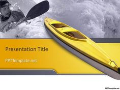 Free Boating PPT Template with yellow boat and water in the background