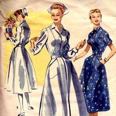 1950s Nurses Uniform Vintage Sewing Pattern McCalls 3419 Uniform or Day Dress Bust 38. , via Etsy.