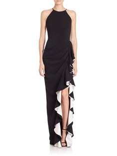 Badgley Mischka Halter Contrast Ruffle Gown In Black Ivory Glamorous Evening Dresses, White Evening Gowns, White Ball Gowns, Black Tie Attire, White Ruffle Dress, Estilo Fashion, Badgley Mischka, Beautiful Gowns, Couture Fashion