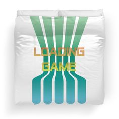 Loading Game Brushed polyester printed topside Soft cotton/polyester off-white underside Concealed zipper and ties for securing your duvet inside Machine washable on a cold water gentle cycle. Use a mild detergent, but stay away from the bleach #retro #gamer #game #80s