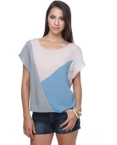 Cute Color Block Top - Blue Top - Taupe Top - $28.00 - StyleSays