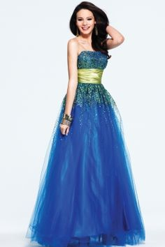 Strapless Sequin Tulle Ball Gown
