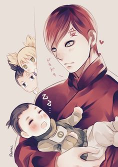 Gaara holding baby Shikadai>>> maybe it's just me but I am Not a big fan of Gaara's new hair.
