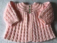 Hand knitted Baby Girls Peach Shimmer Matinee cardigan fits 0-3 mths 'NEW'