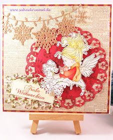 """Handmade Christmas card using """"Lullaby"""" Whimsy Stamps; """"Royal Circles"""" Spellbinders; Designerpaper """"Christmas Noel"""" First Edition; """"Snowflake Frame"""" Wild Rose Studio; Sentiment Iris-istible; Banner Yvonne Creations; WOW Embossingpowder """"Candy Cane""""; colored with TwinklingsH2O"""