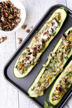 Low carb stuffed zucchini with mushrooms and garlic yoghurt – a simple and delicious low carb recipe # stuffed zucchini – food palate friend Low Carb Recipes, Diet Recipes, Vegetarian Recipes, Healthy Recipes, Law Carb, Vegetable Drinks, Mushroom Recipes, No Carb Diets, Stuffed Mushrooms