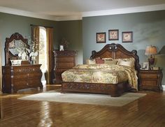 Cromwell Collection 5Pc Bedroom Set (Queen Bed, Night Stand, Dresser, Mirror, Chest) Visions of grand Old World style are conjured when you see the Cromwell Collection for the first time. The magnific